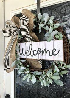 Farmhouse Wreath-Front Door Decor- Grapevine Wreath-Wreath with Eucalyptus- Year Round Wreath. Farmhouse Wreath-Front Door Decor- Grapevine Wreath-Wreath with Eucalyptus- Year Round Wreath-Farmh Boxwood Wreath, Grapevine Wreath, Succulent Wreath, Wreath Crafts, Diy Wreath, Wreath Ideas, Wreath Making, Tulle Wreath, Porte Diy