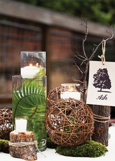 natural rustic centerpieces ( can be used for any occasion) love the fern in the vase.