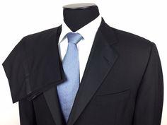 HICKEY FREEMAN Canterbury Mens 42R Black Grosgrain Lap.1-Button Wool Tuxedo Suit #HickeyFreeman | Men's Fashion & Style | Shop Menswear, Men's Clothes, Men's Apparel & Accessories at designerclothingfans.com