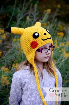 Pikachu hat, Pokemon, Crochet By Allie Crochet Toys, Crochet Baby, Hat Crochet, Pikachu Hat, Minion Crochet Patterns, Gajeel Y Levy, Loom Knitting, Knitting Ideas, Cut The Ropes