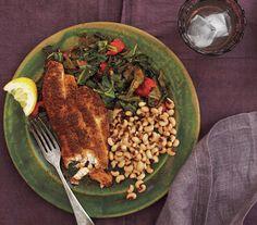 Cajun Catfish With Black-Eyed Peas and Stewed Collards
