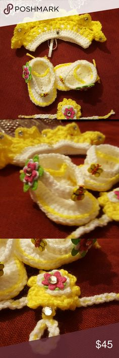 Crochet Baby Set Handmade Beautiful Crochet Baby Set. 0-3 Months, 3-6 Months, 6-9 Months. Comes with Sandals, Crown and Bracelet.  Finget in Bracelet.  Comes in different sizes and and colors Accessories Hair Accessories