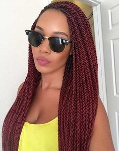 Burgundy Senegalese Twists
