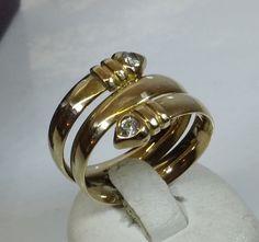 Vintage Ringe - Goldring 333 Wickeloptik mit Kristallsteinen GR202 - ein Designerstück von Atelier-Regina bei DaWanda
