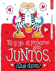 Juntos otro año-Cebras Ele y Gala enamoradas © ZEA www.tarjetaszea.com
