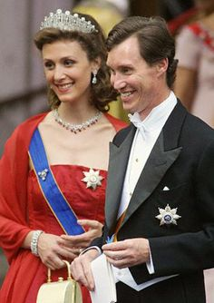 Princess Sibilla of Luxembourg wearing her Art Deco Tiara, along with her husband Prince Guillaume of Luxembourg