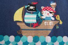 Meterware Baumwollstoff Kitty Kätzchen Katzen Piraten Schifef Eulen Kinderstoff