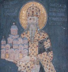 The fresco of king Stefan Milutin, Gračanica monastery, Serbia Gracanica ktitor