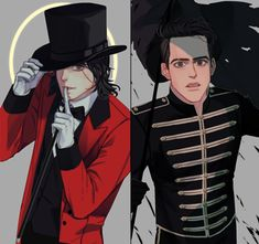 Gerard Way as Beebo in I Write Sins and Brendon Urie as Gee in The Black Parade ©to the artist idk them but I sure as heck do know that they make really amazing art such as this! Emo Band Memes, Emo Bands, Music Bands, Mcr Memes, My Chemical Romance Tumblr, My Chemical Romance Wallpaper, Art Emo, The Wombats, Panic! At The Disco