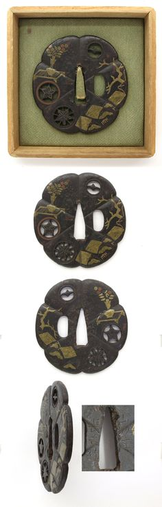 Iron Tsuba, family crests are engraved with open work. The flower and tree