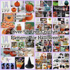 Over 50 Free Crochet Halloween Patterns - The Lavender Chair All Free Crochet, Crochet Round, Diy Crochet, Crochet Crafts, Crochet Projects, Crochet Tutorials, Crochet Dolls, Yarn Crafts, Crochet Ideas
