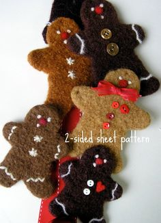 woolly gingerbread cookie pattern - turned into a door hanger