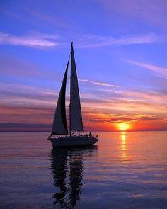 Sailboat at sunset. Home way by Romeo Koitmäe Boat Art, Boat Painting, Night Photos, Sail Away, Water Crafts, Beautiful Sunset, Summer Nights, Belle Photo, Fine Art Prints