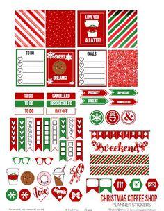 Christmas Coffee Shop Planner Stickers - Free Printable: