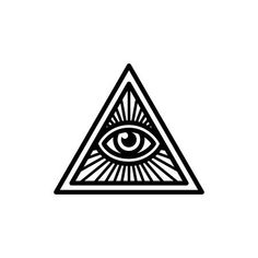 Illustration of Masonic symbol, All Seeing Eye inside triangle with beams. Isolated vector illustration, geometric line icon. vector art, clipart and stock vectors. Illuminati Tattoo, Illuminati Symbols, Masonic Symbols, Third Eye Tattoos, All Seeing Eye Tattoo, Dreieckiges Tattoos, Line Tattoos, Future Tattoos, Tattoos For Guys
