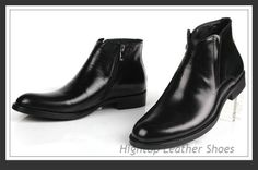 Free shipping new 2014 hightop leather ankle boots full grain leather fashion style round toe slip-on brown size 38-4 $470.00