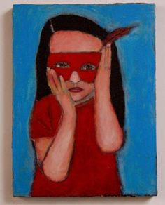 Worried Little Superhero painting     Available in my etsy shop:  https://www.etsy.com/listing/100426996/little-worried-superhero-girl-wearing