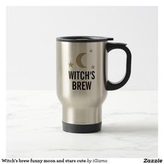 Witch's brew funny, cute moon and stars design coffee cup travel mug.