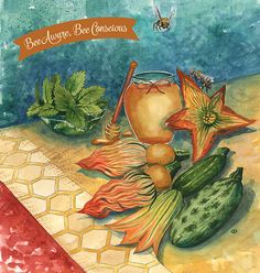 August Flyer Illustration, watercolor food illustration