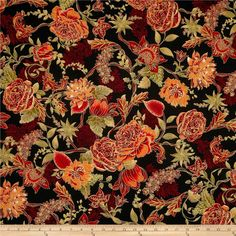 Timeless Treasures Tree of Life Metallic Eden Large Floral Spice from @fabricdotcom  Designed by Chong-A Hwang for Timeless Treasures, this cotton print collection is perfect for quilting, craft projects, apparel and home décor accents. Colors include red, sage, orange, and peach on a black background. Features gold metallic accents throughout.