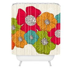 Glowing Red Poppies Shower Curtain for Wall Art Shower