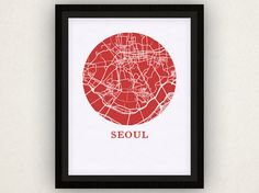 Seoul Map Print  City Map Poster by OMaps on Etsy, $20.00