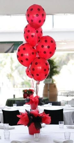 Red & Black polka dot balloons and tissue, perfect for a lady bug party available from The Party Cupboard Polka Dot Balloons, Black Balloons, Miraculous Ladybug Party, Fete Emma, Ladybug Invitations, Ladybug 1st Birthdays, Party Table Centerpieces, Ladybug Centerpieces, Centrepieces