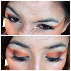 Bold orange and brown eye makeup
