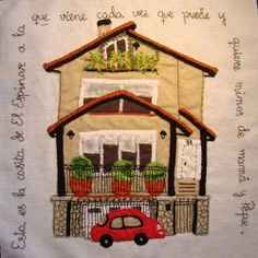 The house art quilt. Idea to make a quilt that looks like my home /yard