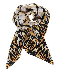 Versace 19V69 Orange Leopard Scarf | zulily -  $34.99 $140.00 Product Description:  Colorful leopard patterning exudes sumptuous allure while the lightweight fabric lends season-spanning style. The versatile length allows it to be worn in various ways from a head scarf to a basic loop.      35.4'' x 35.4''     100% polyester     Machine wash     Imported