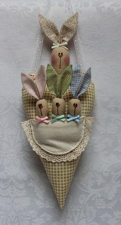 delizioso cuore con mamma coniglia e i suoi piccoli