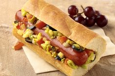 From the special relish topping to the crusty French bread 'bun,' these grown-up dogs are sure to stand out from the pack. Hamburgers, Hot Dog Buns, Hot Dogs, Tasty Lasagna, Brat Sausage, Bologna Recipes, Relish Sauce, Recipe Collector, Burger Dogs
