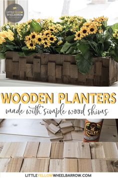 How to build a pretty wooden planter quick and cheap! An easy DIY wood project anyone can make. Made from scrap wood and a small bundle of wooden shims the project couldn't be less expensive!
