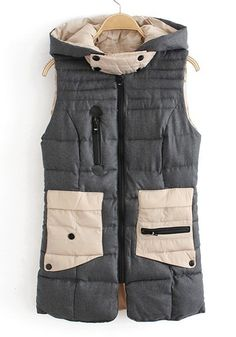 ++ beige patchwork pockets sleeveless cotton blend vest