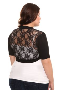 6d8ea6160df76 Our infatuation with lace continues with this extremely feminine black shrug.  Features trendy elbow sleeves and a stunning floral lace back.