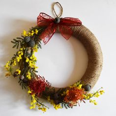 Large Handmade Australian Wattle and Gumnut Christmas Wreath Aussie Christmas, Australian Christmas, Xmas, Anzac Day, Lace Ribbon, Red Lace, Christmas Wreaths, Christmas Ideas, Twine