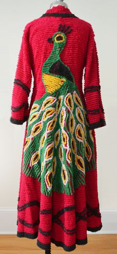 Vintage Chenille Peacock Robe