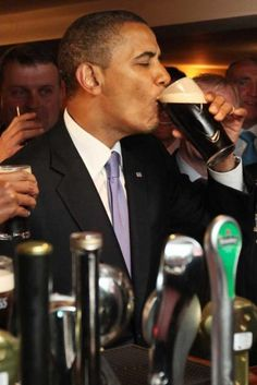 Obama enjoying a pint in Ollie Hayes in Moneygall