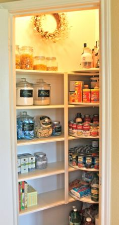 12 Diy Kitchen Storage Ideas For More Space in the Kitchen ...look at the lazy susan idea in the corner of the pantry!