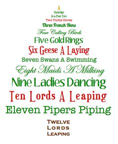 twelves days of christmas