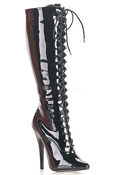 The features for these sexy boots include a patent faux leather upper with a front lace up tie design, pointed closed toe, knee high length, side zipper closure, smooth lining, and cushioned footbed. Approximately 6 inch heels.