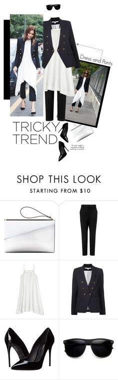 """""""Tricky Trend: Dress and Pants"""" by meyli-meyli ❤ liked on Polyvore featuring Marni, Racil, CP Shades, Veronica Beard, Dolce&Gabbana and TrickyTrend"""