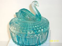 Antique Blue Swan Powder Box 1950s by UnusualFindsnDesigns on Etsy