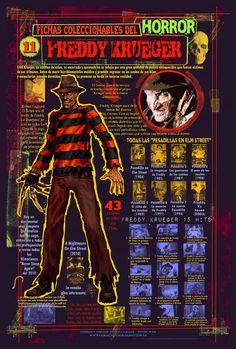 Ficha infográfica homenaje a Freddy Krueger. Dibujos y diseños míos.
