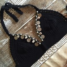 Embellished cotton bra using beads of pearl stone coin and shell, one size only will an 8/10 best with a cup size a-cTop only this listing
