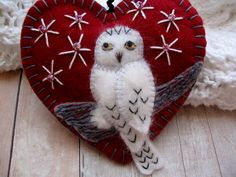Snowy Owl Ornament in Dark Red by SandhraLee on Etsy