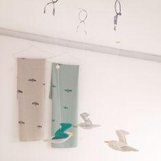 Bird table cloth & seagull mobile  http://cocon.bigcartel.com