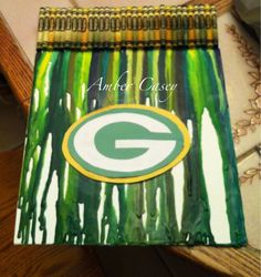 melted crayon on canvas for my brother! customize with any team! tape or glue the crayons to a canvas or piece of cardboard. Use a hairdryer to melt them! MERRY CHRISTMAS!!!!!!!!!!