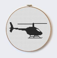 Black Silhouette Helicopter modern cross stitch pattern - perfect for beginners - PDF format - insta Dmc Embroidery Floss, Cross Stitch Embroidery, Hand Embroidery, Machine Embroidery, Embroidery Designs, Knitting Charts, Knitting Patterns, Black Silhouette, Modern Cross Stitch Patterns