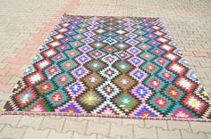 VINTAGE Turkish Kilim Rug Colorful 83 x 117 by TurkishCraftsArts, $595.00
